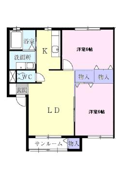 物件番号: 1110310184 メゾンアルファC 富山市小杉 2LDK アパート 間取り図