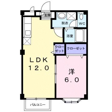 物件番号: 1110309399 メゾンクレスト  富山市上赤江町2丁目 1LDK アパート 間取り図