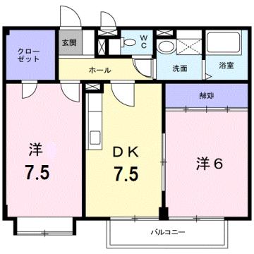 物件番号: 1110309979 リバーサイド・ヴィラB 富山市西荒屋 2DK アパート 間取り図