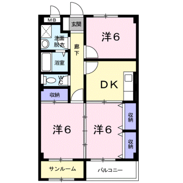 物件番号: 1110309407 エスタシオン  富山市堀 3DK マンション 間取り図