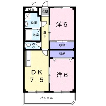 物件番号: 1110309980 ウインベル赤田  富山市赤田 2DK マンション 間取り図