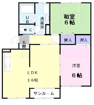 物件番号: 1110309411 ノーヴァⅠ  富山市富岡町 2LDK アパート 間取り図