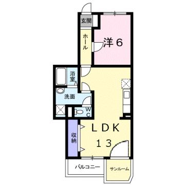 物件番号: 1110309418 HANAハイツ  富山市新庄町 1LDK マンション 間取り図