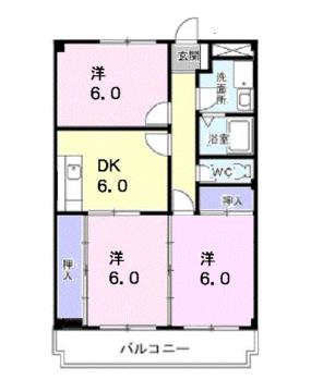 物件番号: 1110310139 マルベリータウン 富山市萩原 3DK マンション 間取り図