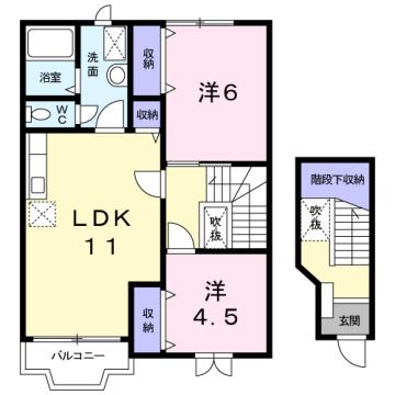 物件番号: 1110309991 リバーサイド・ドリームⅡ 富山市西荒屋 2LDK アパート 間取り図