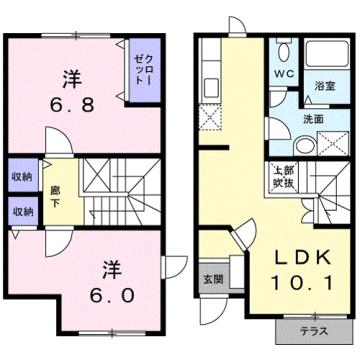 物件番号: 1110309424 リバーサイド・ドリームⅠ  富山市西荒屋 2LDK アパート 間取り図