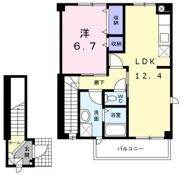 物件番号: 1110309901 ヴィラ・ノールB  富山市太田 1LDK アパート 間取り図