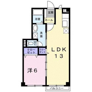 物件番号: 1110309429 グランディール  富山市山室荒屋 1LDK アパート 間取り図