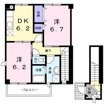 物件番号: 1110309432 サニーサイド松ケ丘  富山市山室荒屋 2DK アパート 間取り図