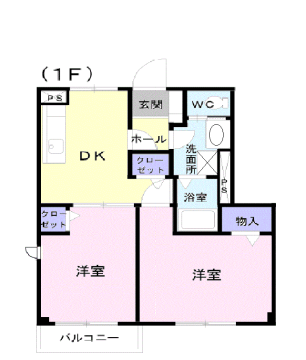 物件番号: 1110309438 ドムス・コンドゥクターA  富山市中川原 2DK アパート 間取り図