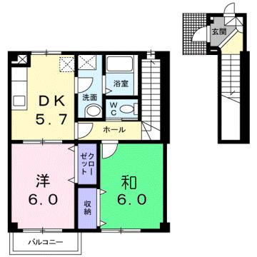 物件番号: 1110309446 アル・カーサル  富山市藤木 2DK アパート 間取り図