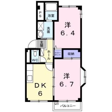物件番号: 1110309448 ブルーリオンⅡ  富山市萩原 2DK アパート 間取り図