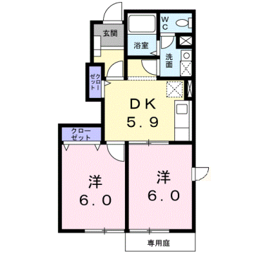 物件番号: 1110310148 リバーサイド・ドリームⅥ 富山市西荒屋 2DK アパート 間取り図
