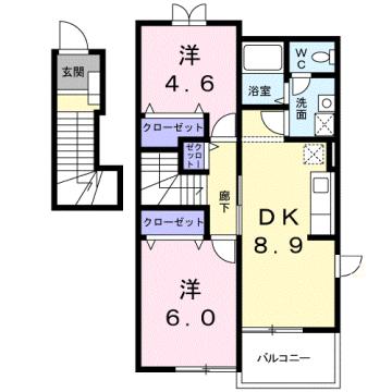 物件番号: 1110309453 リバーサイド・ドリームⅦ  富山市西荒屋 2DK アパート 間取り図