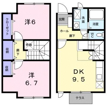 物件番号: 1110310152 ブルーイゾラ 富山市赤田 2DK アパート 間取り図