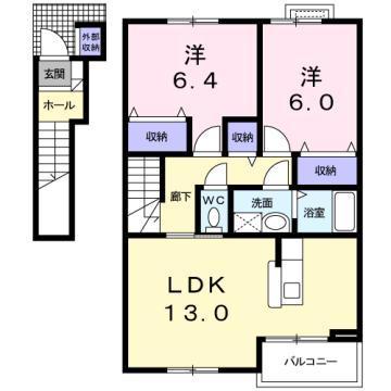 物件番号: 1110309941 ヴィラ・アミティⅡ  富山市西荒屋 2LDK アパート 間取り図