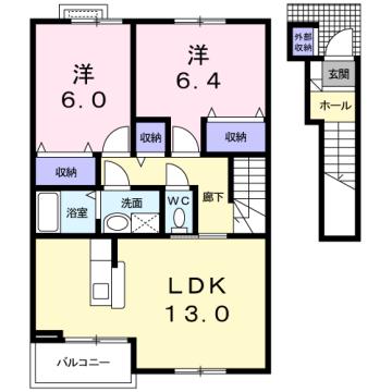 物件番号: 1110309943 ヴィラ・アミティⅢ  富山市西荒屋 2LDK アパート 間取り図