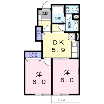 物件番号: 1110309462 ファンタジーアA  富山市下大久保 2DK アパート 間取り図