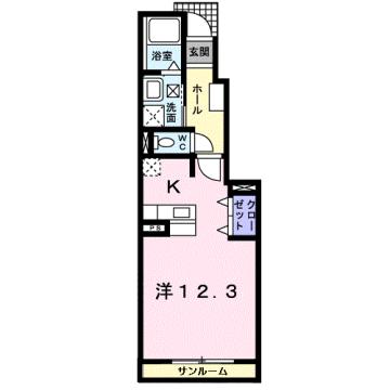 物件番号: 1110309480 サンテェラス 富山市豊若町3丁目 1K アパート 間取り図