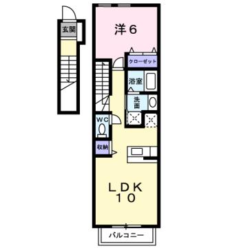 物件番号: 1110309904 ヴィラ・アミティⅤ  富山市西荒屋 1LDK アパート 間取り図