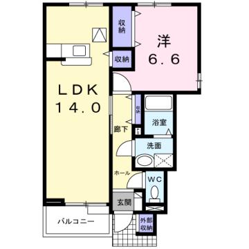 物件番号: 1110309983 エレガンスヤツオC  富山市八尾町井田 1LDK アパート 間取り図