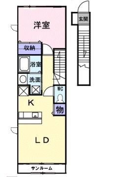 物件番号: 1110309907 ヴィラノールG 富山市太田 1LDK アパート 間取り図