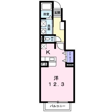 物件番号: 1110310086 ラ・ページブル 富山市萩原 1K アパート 間取り図