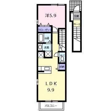 物件番号: 1110309485 ゼファーⅣ 富山市上大久保 1LDK アパート 間取り図