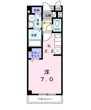 物件番号: 1110309984 ヴィアーレ秋吉  富山市秋吉 1K アパート 間取り図