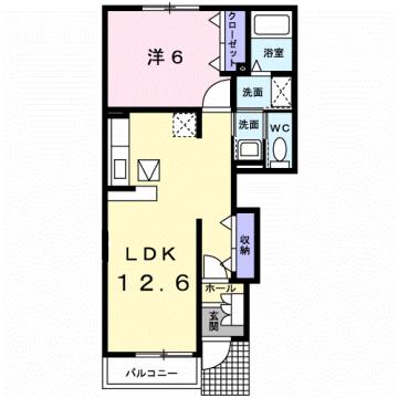 物件番号: 1110309488 アルティプラーノⅢ  富山市有沢 1LDK アパート 間取り図