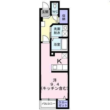 物件番号: 1110309491 ウエスト・モンターニュA  富山市太郎丸西町1丁目 1K アパート 間取り図