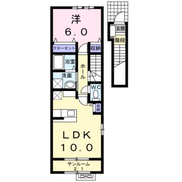 物件番号: 1110309493 リリックスA  富山市手屋3丁目 1LDK アパート 間取り図