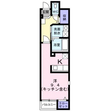物件番号: 1110309496 サニーパティオⅡ  富山市長江4丁目 1K アパート 間取り図