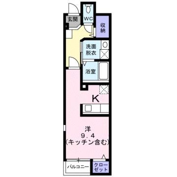 物件番号: 1110309497 サニーパティオⅡ  富山市長江4丁目 1K アパート 間取り図