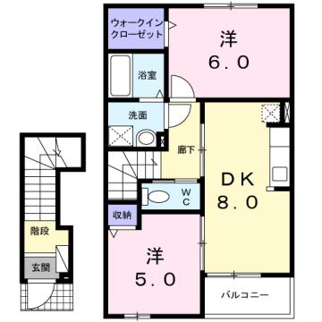 物件番号: 1110309499 ベルズかたかごB 富山市八木山 2DK アパート 間取り図