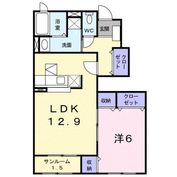 物件番号: 1110309506 クロシェットⅢ  富山市上二杉 1LDK アパート 間取り図