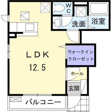 物件番号: 1110309510 グレイシャス  富山市西新庄 1K アパート 間取り図