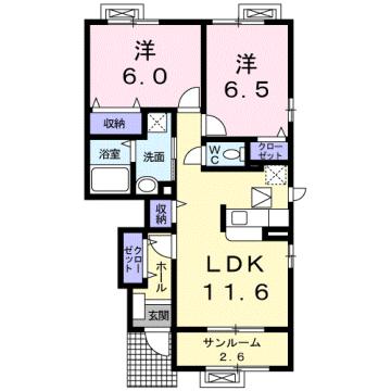物件番号: 1110309522 モアステージⅦA  富山市小杉 2LDK アパート 間取り図