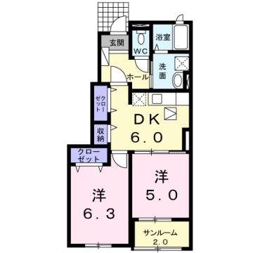 物件番号: 1110309985 カトル・フィユ  富山市四方荒屋 2DK アパート 間取り図