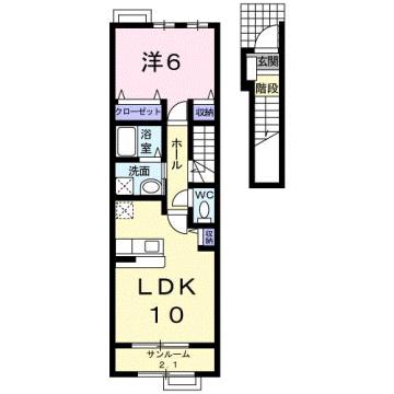物件番号: 1110309531 クロンドールⅠ  富山市布瀬本町 1LDK アパート 間取り図