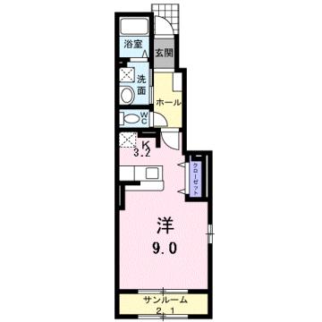 物件番号: 1110309532 クロンドールⅡ  富山市布瀬本町 1K アパート 間取り図
