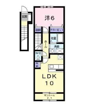 物件番号: 1110310092 クロンドールⅡ 富山市布瀬本町 1LDK アパート 間取り図