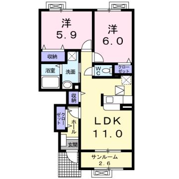 物件番号: 1110310249 メイク・レジェンドB 富山市婦中町田島 2LDK アパート 間取り図
