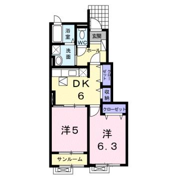 物件番号: 1110310233 ヴィー・ボヌール 富山市四方荒屋 2DK アパート 間取り図