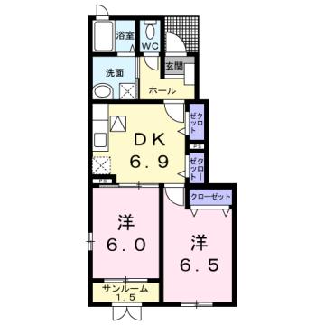 物件番号: 1110309535 エトワールA  富山市西荒屋 2DK アパート 間取り図