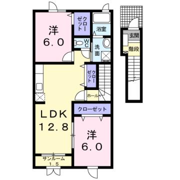 物件番号: 1110310062 エトワールA 富山市西荒屋 2LDK アパート 間取り図