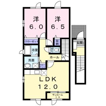物件番号: 1110310250 エトワールA 富山市西荒屋 2LDK アパート 間取り図