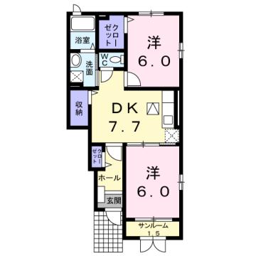物件番号: 1110310063 エトワールB 富山市西荒屋 2DK アパート 間取り図