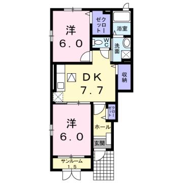 物件番号: 1110309536 エトワールC  富山市西荒屋 2DK アパート 間取り図
