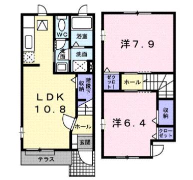 物件番号: 1110309537 エトワールD  富山市西荒屋 2LDK アパート 間取り図